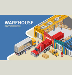 Workers loading trucks near warehouse vector