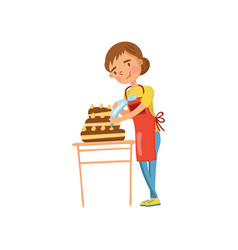 young woman in casual clothing and apron making a vector image