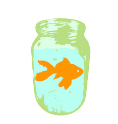 color silhouette of aquarium fish in a jar with vector image vector image