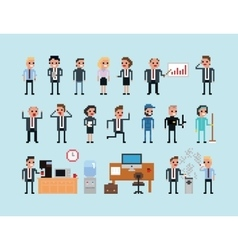 Set of pixel art people icons office work vector image vector image