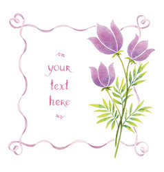 watercolor flowers and ribbons vector image vector image