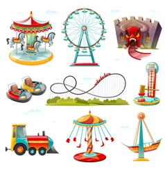 Amusement Park Attractions Flat Icons Set vector image vector image