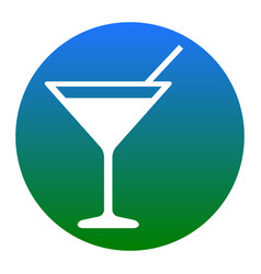 cocktail sign white icon in vector image