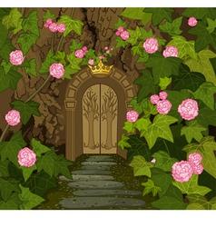 Gates of magic elves castle vector