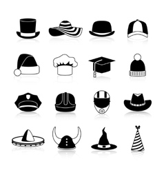 Hats And Caps Black Icons vector image vector image