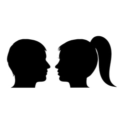 Man and woman face profile vector image vector image