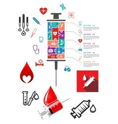 Medical and hospital infographics with icons vector image vector image