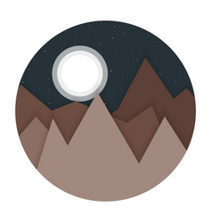 night landscape mountains flat design vector image vector image