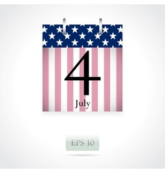 Calendar page for July 4th vector image vector image