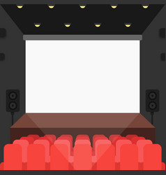 cinema theater with seats and blank screen vector image