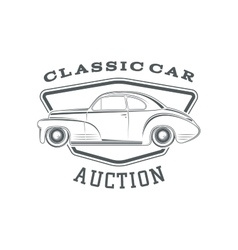 Classic car auction badge template vector