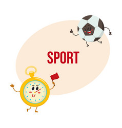 funny stopwatch and football ball characters with vector image vector image