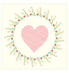 Valentine card with heart and floral frame vector image vector image