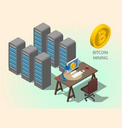 3d isometric computer online mining bitcoin vector image