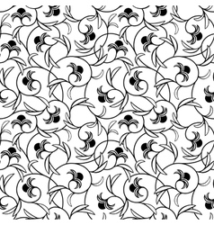 abstract flowers black seamless background vector image vector image