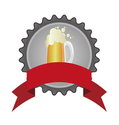 circular color emblem of glass with beer and vector image