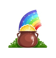Kettle with gold and rainbow vector image vector image