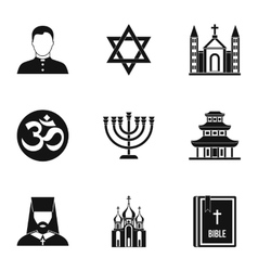 Religious faith icons set simple style vector image vector image
