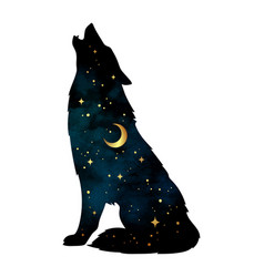 silhouette of wolf with crescent moon and stars vector image vector image