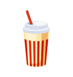 soft drink in paper cup with straw street fast vector image