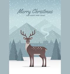 winter nature landscape with deer vector image