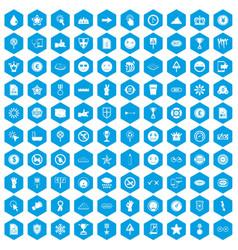 100 symbol icons set blue vector