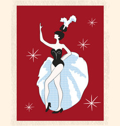 a dancer retro greeting card vector image