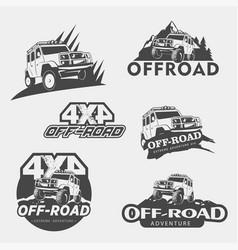 A set five off-road 4x4 extreme club emblems vector