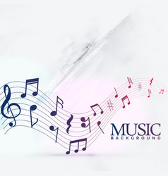 Abstract music notes wave background vector