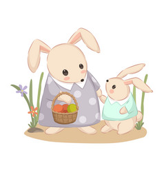 Adorable mommy and babunny together vector