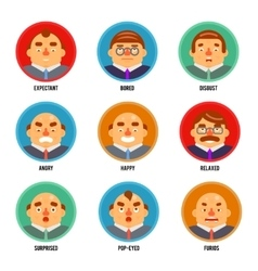 Adult Avatar Emotions Happy Surprised Mustache vector