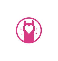 Alpaca love logo vector
