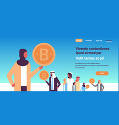 arabic businesswoman hand hold bitcoin crypto vector image