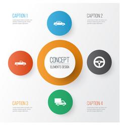 Automobile icons set collection automobile vector