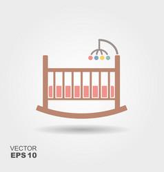 Baby cradle bed icon vector