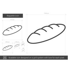 baguette line icon vector image