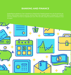 Banking and finance poster template in line style vector
