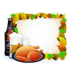 beer and fried chicken with autumn leaves vector image