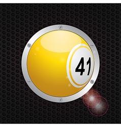 Bingo ball on metallic frame background vector