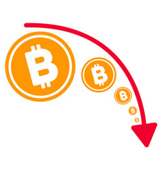 bitcoin reduce trend flat icon vector image