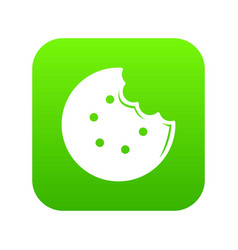 Bite biscuits icon green vector