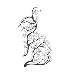 bunny stylized bushes on a white background for vector image