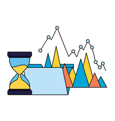 business folder chart hourglass time vector image