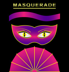 carnival mask masquerade fan ribbon poster vector image