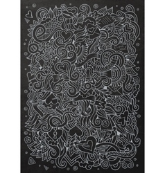 Cartoon hand-drawn Love Doodles Chalkboard vector image