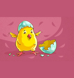 chicken baby hatched from egg vector image