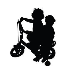 Children on bike silhouette vector