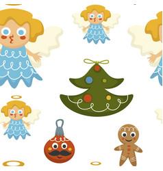 christmas holidays symbolic characters angel vector image