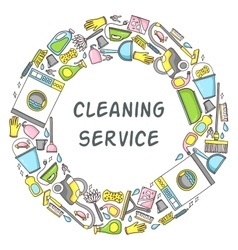 Circular doodle of cleaning vector