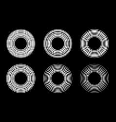 circular striped line frame set circle lines vector image
